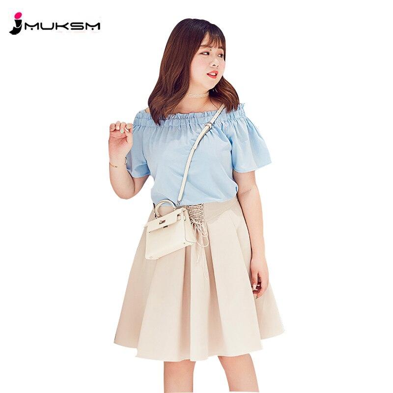 Two Piece Summer Women 2018 New Slash Neck Suspenders Pleated Skirt Plus Size XL 4XL Fairy Suit Trendy Western Style Sweet ZTT27