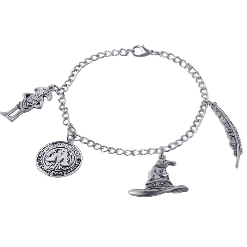 Hot Fashion Vintage design antique silver harry feather balance magic hat charms bracelet men women movie fans bracelet jewelry