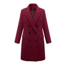 FREE SHIPPING !! Winter Wool Blends Female Pockets Long Coat JKP1020