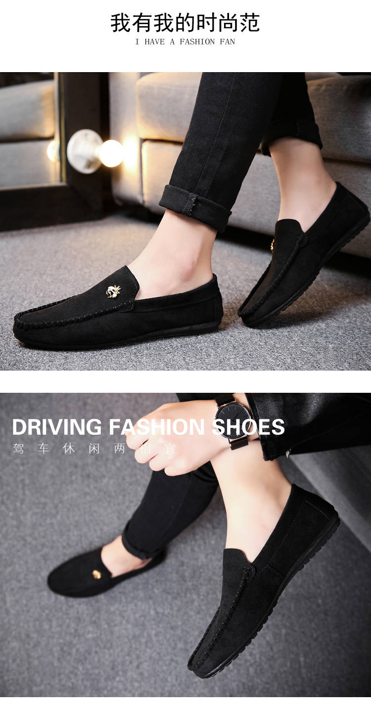 Juyouki Natural Cow Suede Bees Men's Casual Shoes Alligator Style Men Loafers Slip on Lazy Shoes Wiht Male Outdoor Shoes 19