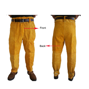 Image 5 - מעיל ומכנסיים ארוכים מגן הלחמה ריתוך בטיחות עור פרה 500 מעלות חום עמיד GM1014 Custome