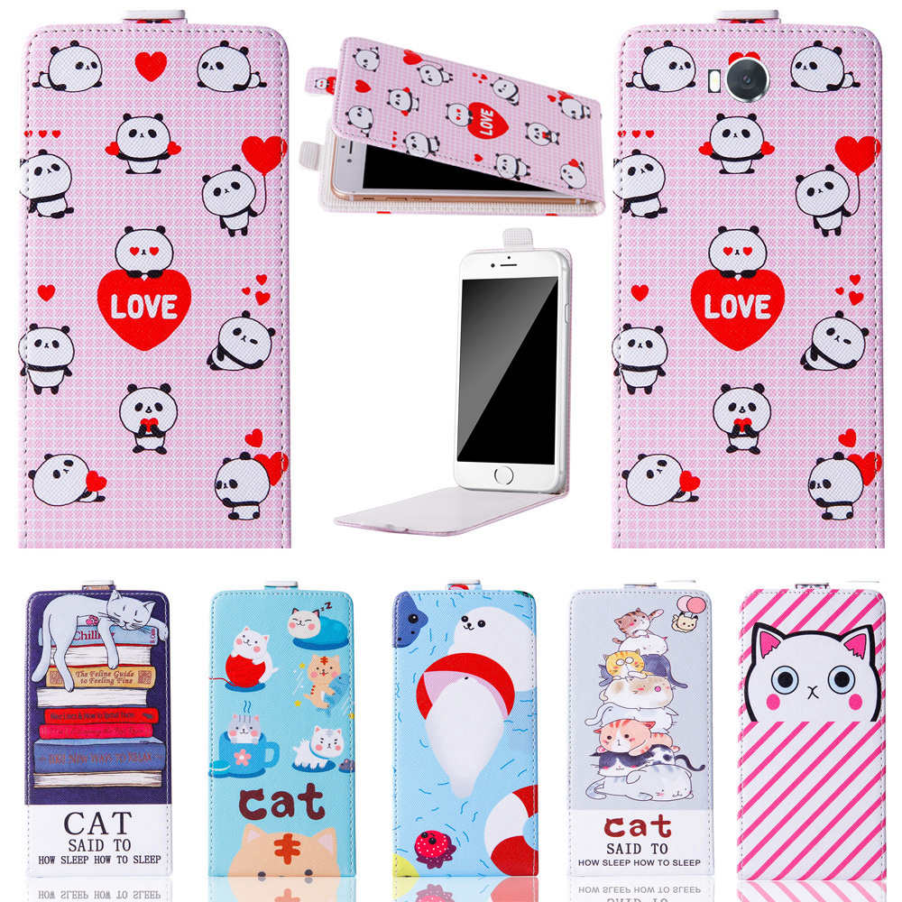 Hot!New Cute Cartoon up and down Stand Flip PU Leather Cover Plastic Back With Card Holders For BRAVIS Hit Case