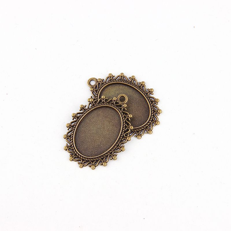 5pcs 18*25mm Antique Plated Oval  Necklace Pendant Setting Cabochon Cameo Base Tray Bezel Blank Jewelry Findings&components