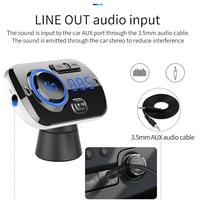 led music SRUIK Car FM Transmitter Fm Modulator Bluetooth 5.0 USB Car Charger Kit Hands-Free Calling Music Player Night Vision LED Light (4)