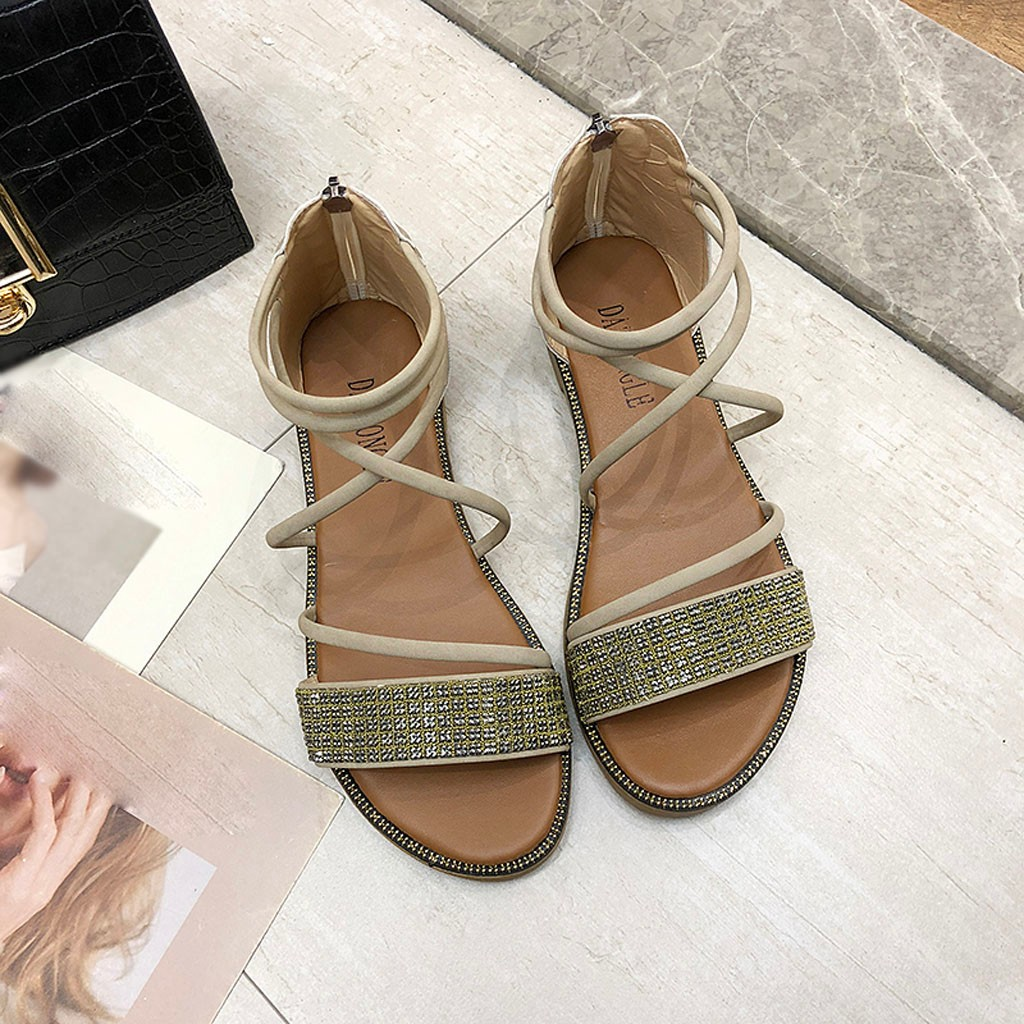woman sandals 2019 summer Bright Diamond Zipper Sandals Ankle Shoes Open Toe Casual Beach Sandals zuecos enfermera#G outfits para playa mujer 2019