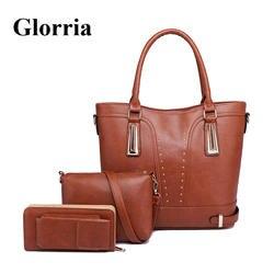 Glorria 3 шт. наборы для ухода за кожей Большой Мужская тотализаторов для женщин кожа сумки для 2019 Плечо Сумка Через женский кошельк