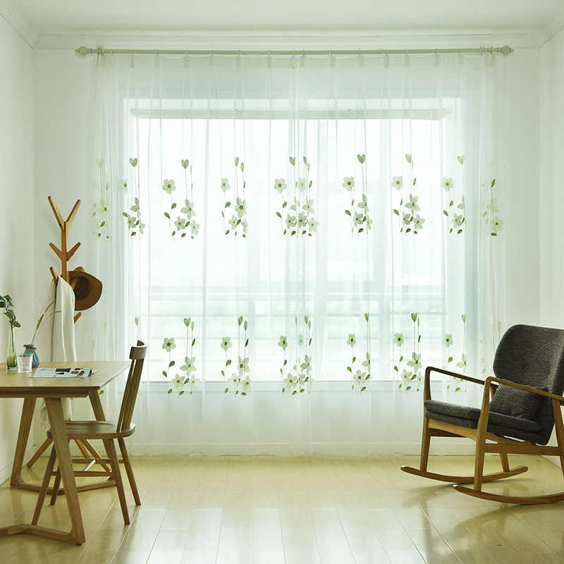 Simple Window Screen Green Embroidered Sheer Tulle Drapes For Living Room Fresh and elegant Fashion Graze For Kitchen AP152-40