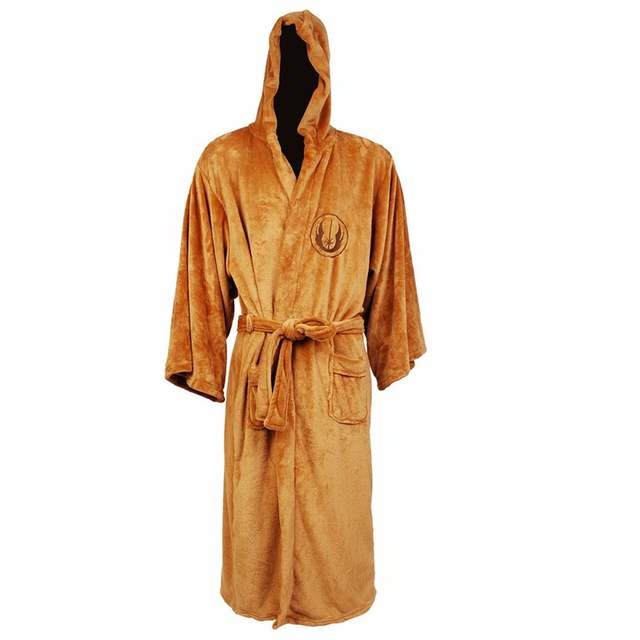 1fa8b1d73b placeholder Flannel Robe Male With Hooded Star Wars Jedi Knight Rob Dressing  Gown Jedi Empire Long Thick
