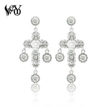 Baroque Style Big Cross Earrings Vintage Dangle Dropping For Women New Fashion Fine Jewelry