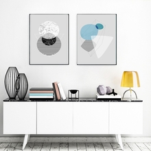 Geometric Figure Abstract Wall Art Canvas Prints Grey Poster Artwork Painting for Living Room Decor Home Decorations