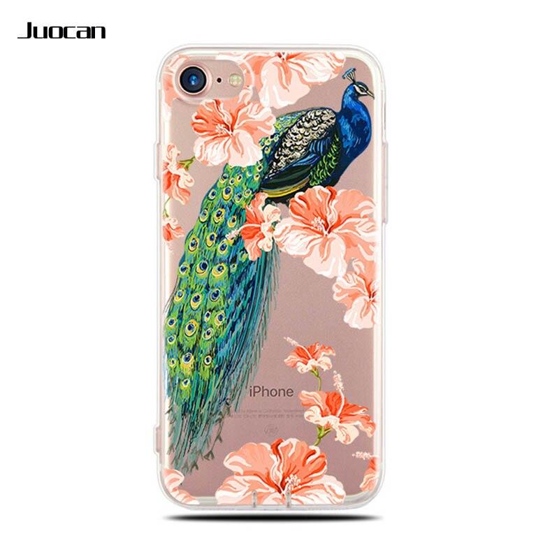 Juocan Ясно Мягкие TPU сотовый телефон задняя крышка для iPhone 7/7 P с романтический цветок и Товары для птиц узор сотовый телефон чехол