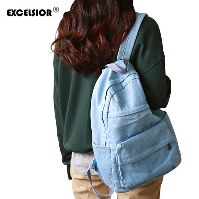 2ceba757bfebb اكسلسيور مدرسة حقائب الظهر المدرسية النساء الجينز حقيبة لحقيبة girlsbolsas  المراهقات mochilas الأنثوية
