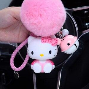 Милый брелок с кроличьим мехом Hello Kitty и помпонами из мультфильма «Hello Kitty», женский кожаный ремешок, металлические брелки, брелки, автомобильная сумка, очарование D35B