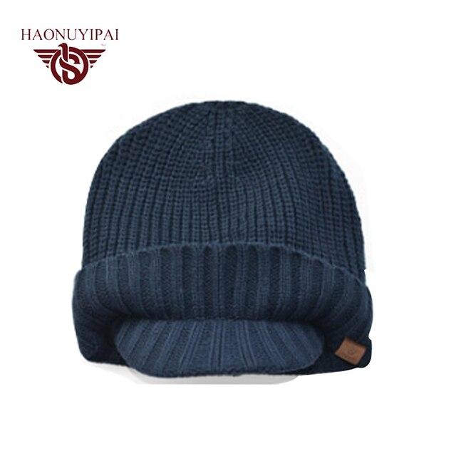 Hot Sale Autumn Winter Knit Caps Plus Velvet Warm Solid Color Striped Casual Hats Outdoor Sport Riding Cap Windproof Hat  A046