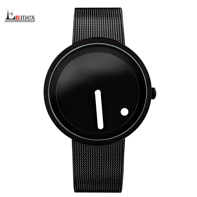 gift Enmex cool Minimalist style wristwatch Stainless Steel creative design Dot and Line simple stylish quartz fashion watch 2017 new gift enmex hit color steel frabic strap creative dial changing patterns simple fashion for young peoples quartz watches