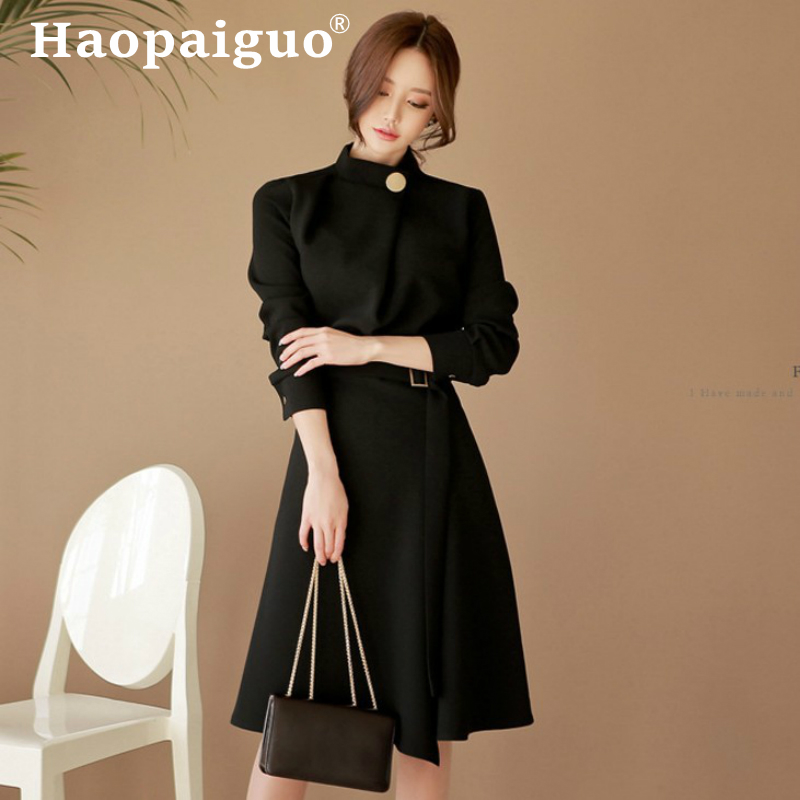 Grande taille automne hiver Stand noir Robe femmes à manches longues Corset Midi moulante Robe femmes solides Vestidos Mujer Robe Femme
