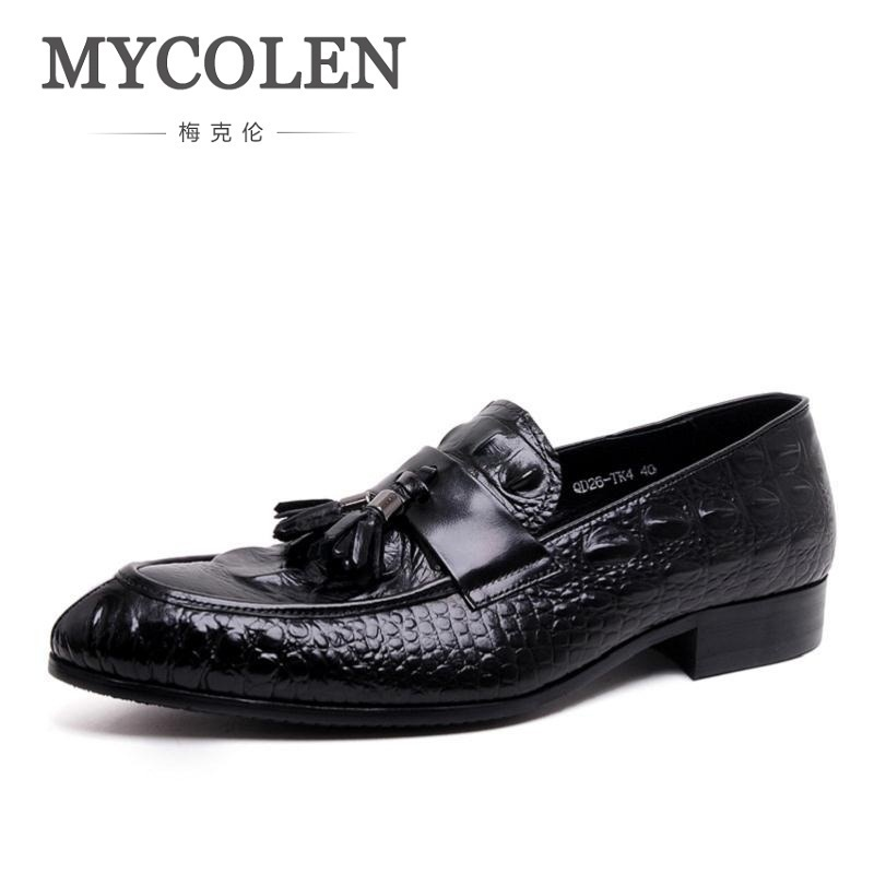 MYCOLEN Handmade Leather Men Dress Shoes Evening Party Wedding Shoes Men Slip On Flats Formal Oxfords Zapatos Hombre De Vestir pjcmg spring autumn men s genuine leather pointed toe slip on flats dress oxfords business office wedding for men flats shoes