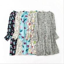 2019 Spring 100 cotton Sleepshirts Women Casual Cartoon nightgown Female long sleeve O neck collar sleepwear