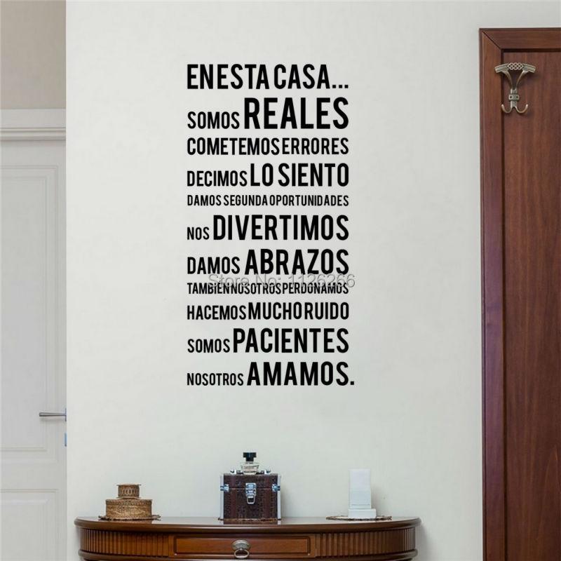 Španělské rodinné předpisy Nástěnné samolepky EN ESTA CASA slova Lettering Vinyl Obtisky pro domácí dekor