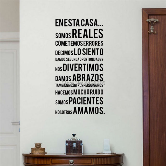 Spanish Family Rules Wall Stickers EN ESTA CASA Words Lettering Vinyl Decals  For Home Decor