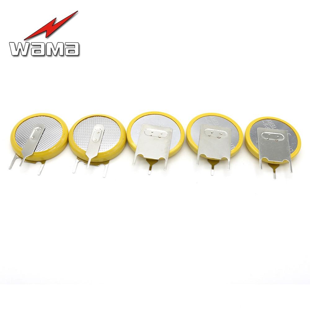 50x 3-pin 210 mAh CR2032 3 V Botão Celular Baterias Wama Solda Soldado Pés De Solda Pinos Substituir Acessórios Relógio 2032 bateria