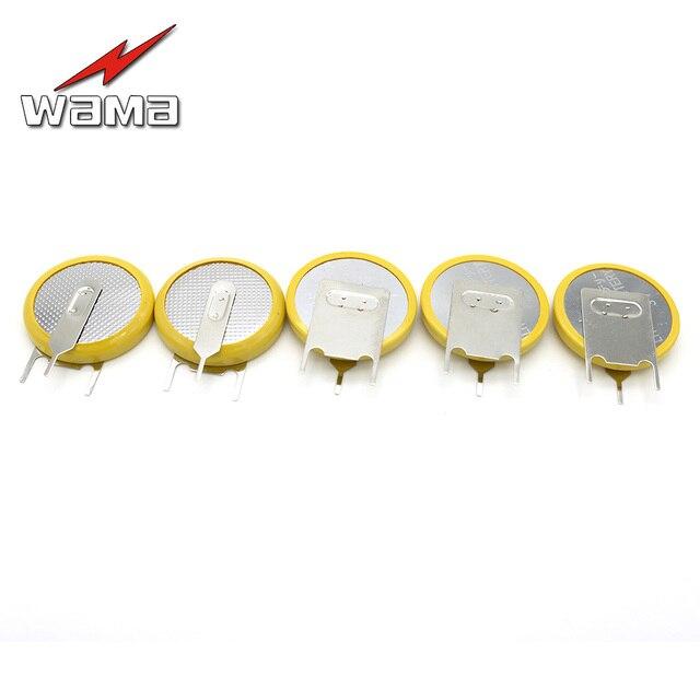 50x Wama 3 broches 210 mAh CR2032 3 V piles bouton soudage pieds soudés broches à souder remplacer montre accessoires 2032 batterie