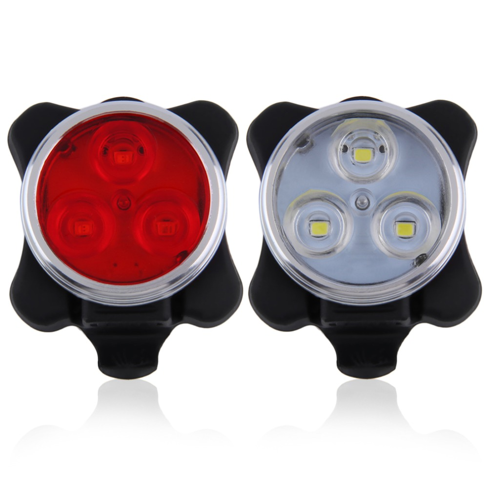 3 LED USB Rechargeable Bicycle Light Cycling Bike Front/Rear Light Head Tail Lamp With Charging Cable Red White wireless 2 4ghz led light traffic warning sign bicycle backpack rucksack rechargeable usb cable cycling backpacks bike bag