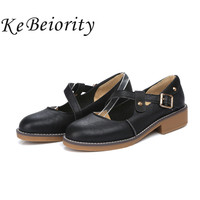 New 2017 Ladies Flat Shoes Leather Spring Ankle Strap Women Flats Black White Oxford Female Shoes