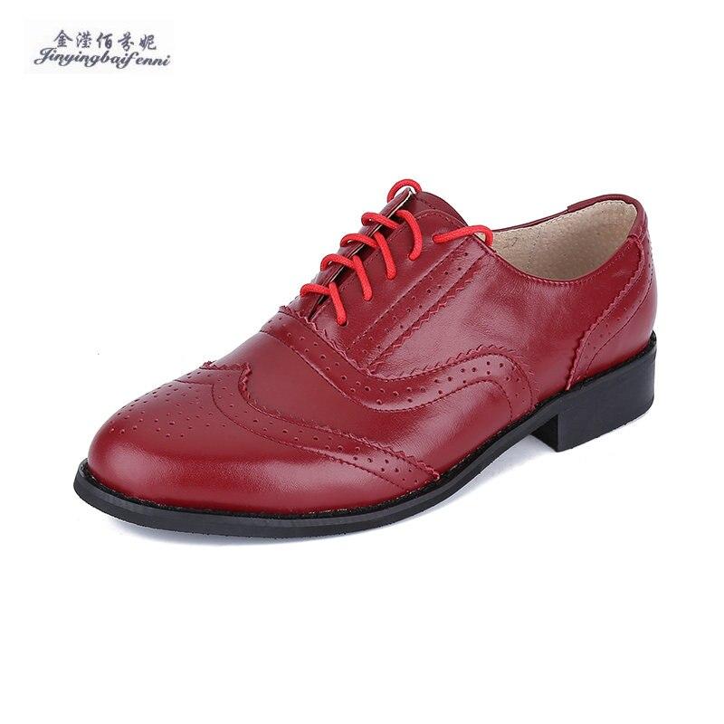 Estilo británico vintage tallado oxfords zapatos de piel de cerdo dentro de las mujeres de tacón bajo moda cuero genuino brogue zapatos Brogues Oxfords-in Zapatos planos de mujer from zapatos on AliExpress - 11.11_Double 11_Singles' Day 1