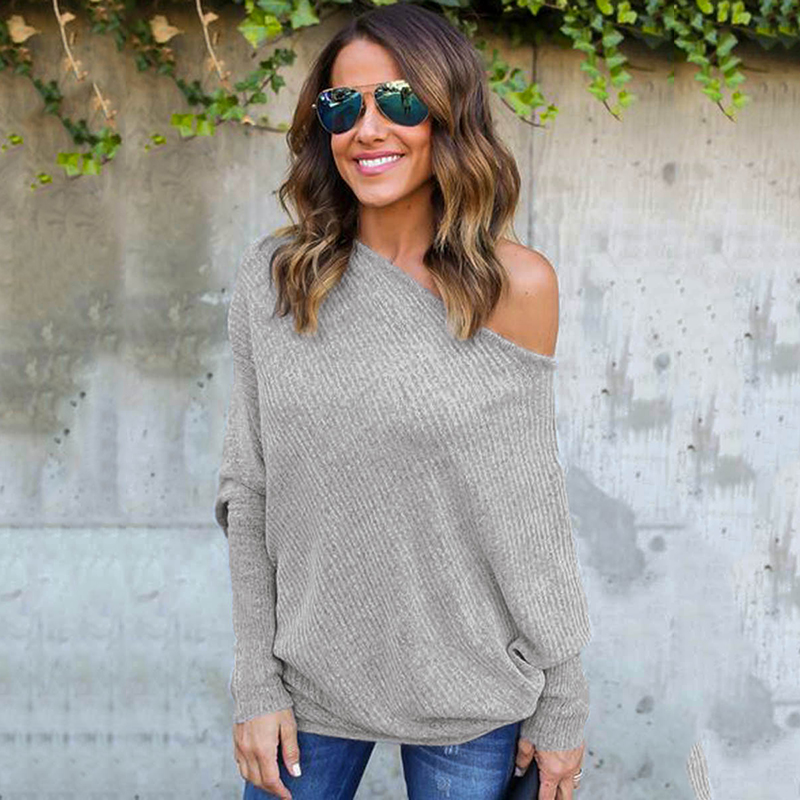 Women Sweater Off The Shoulder Pullover Baggy Sweater Ladies Tops O-neck Chunky Knitted Oversize Sweater Female Jumper 2018