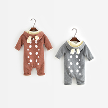2016 Autumn Winter Baby Rompers Infant One Piece Newborn Brand Hoodies Jumpsuit Baby Girl Boy Clothing free shipping