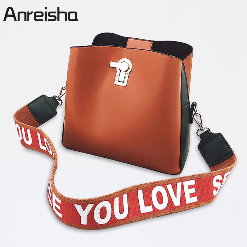 Anreisha Brand Women Shoulder Bag Casual Large Tote Bags Female High Quality PU Leather Messenger Bag Wide Shoulder Strap Bolsa vintage handbag women casual tote bag female large shoulder messenger bags high quality pu leather handbag with fur ball bolsa