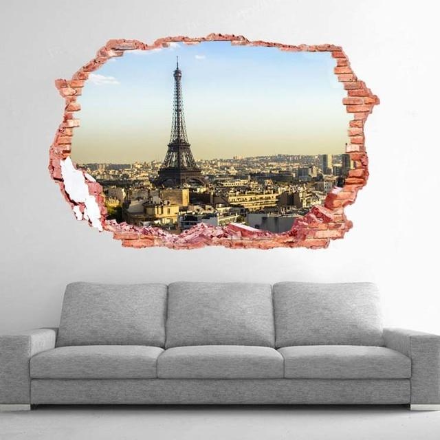Fashion romantic paris eiffel tower sticker wall stickers for Eiffel tower wall mural ikea
