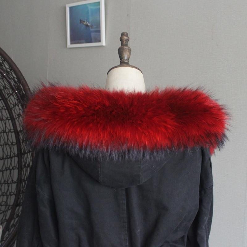 Зимняя куртка из натурального меха, воротник из натурального меха енота, женские шарфы, пальто, женская шапка, длинный теплый шарф из натурального меха, большой размер - Цвет: Red