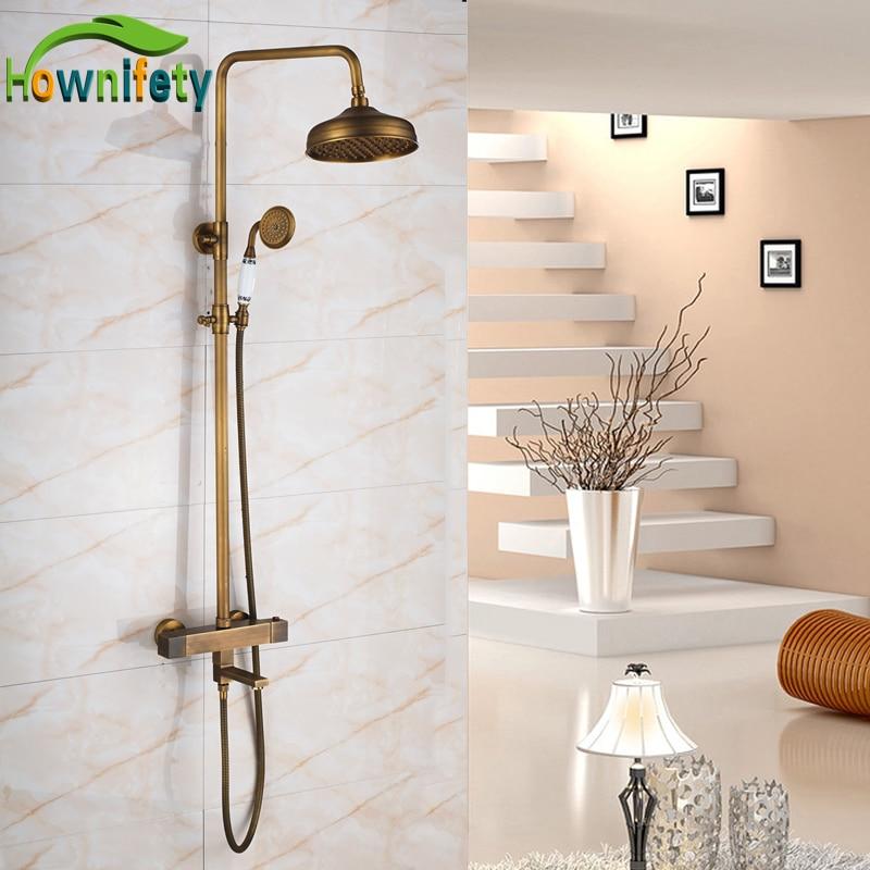 Фото Luxury Antique Brass 8 Inch Rainfall Shower Head Bathroom Shower Faucet Thermostatic Bathtub Mixer Tap