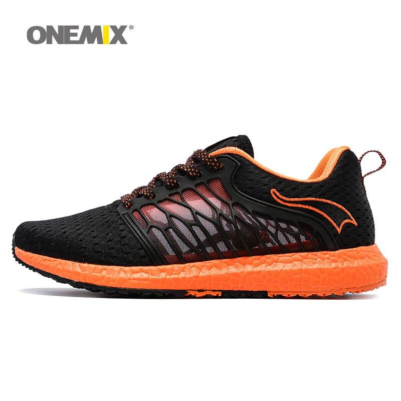 ONEMIX hommes chaussures de course respirant gaze maille chaussures lumière cool sneakers pour en plein air à lacets chaussures de marche jogging sneakers