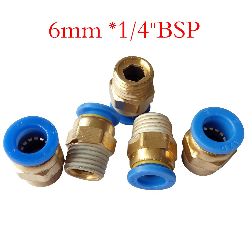 Pack of 5 Tube OD 6 mm X 1/4 BSP Push In To Connect Fitting Male Straight Connector Pneumatic Air Fitting PC6-2 4 pcs 3 4pt male to 1 2npt female thread air pneumatic tube fitting connector