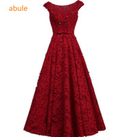 Abule Lece Beading Evening Dresses 2017 Aline Lace Up Sleeveless Appliques Formal Party Dress Women Prom