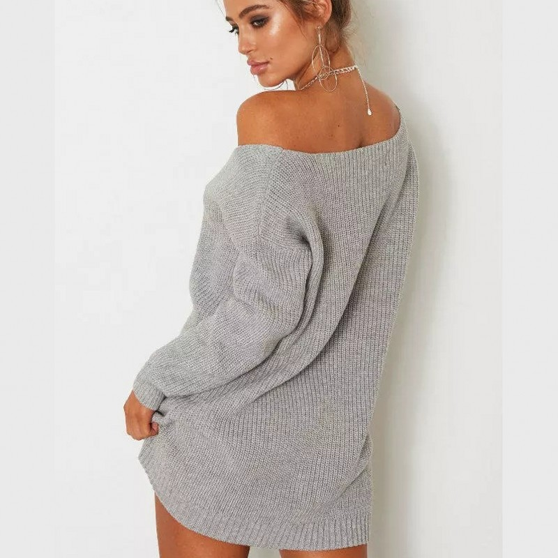 Autumn black gray Sweater Night Long Knitted Womens White Neck Female Streetwear Sexy Tops Sleeved Winter Slim Pullover brown Fit V Club Casual wtH1ZwIvqx