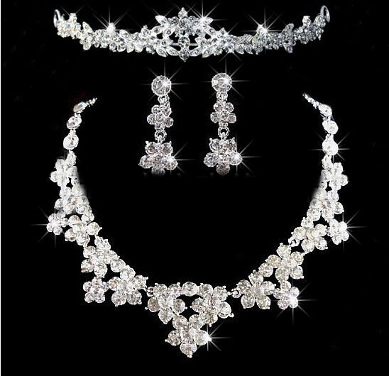 New Fashion Luxury Crystal Flower Bride wedding Jewelry sets Charming sweet princess Silver necklace sets Earrings Accessories