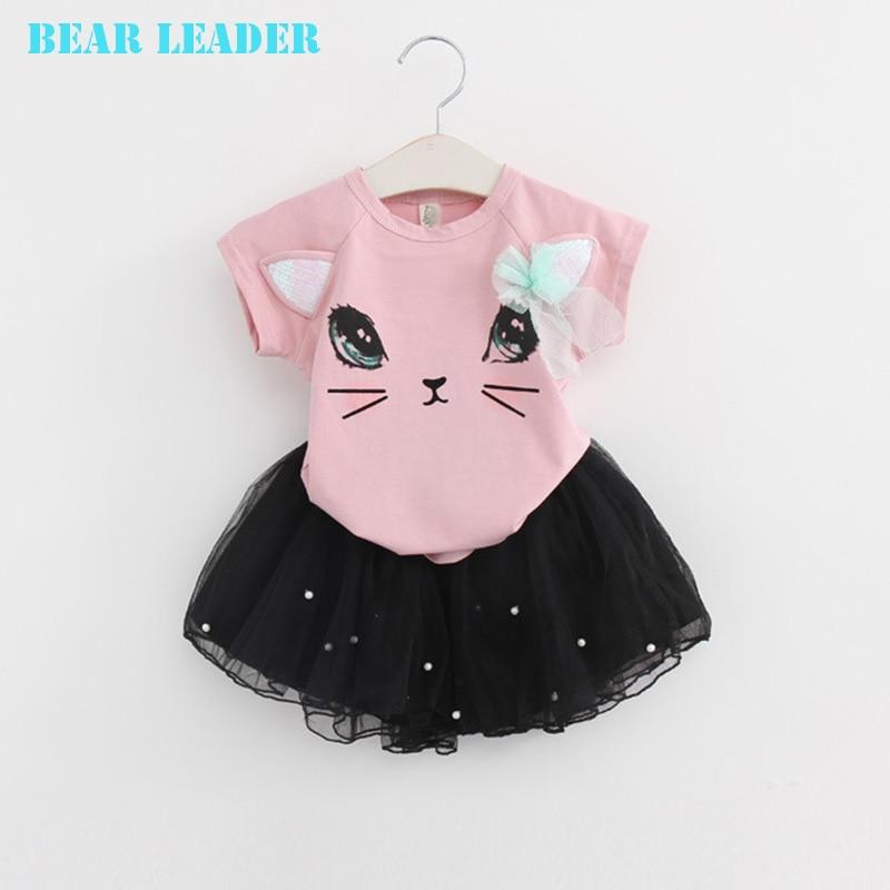 Bear-Leader-Girl-Dress-2016-New-Summer-Casual-Style-Cartoon-Kitten-Printed-T-ShirtsNet-Veil-Dress-2Pcs-for-Girls-Clothes-2-6Y-3