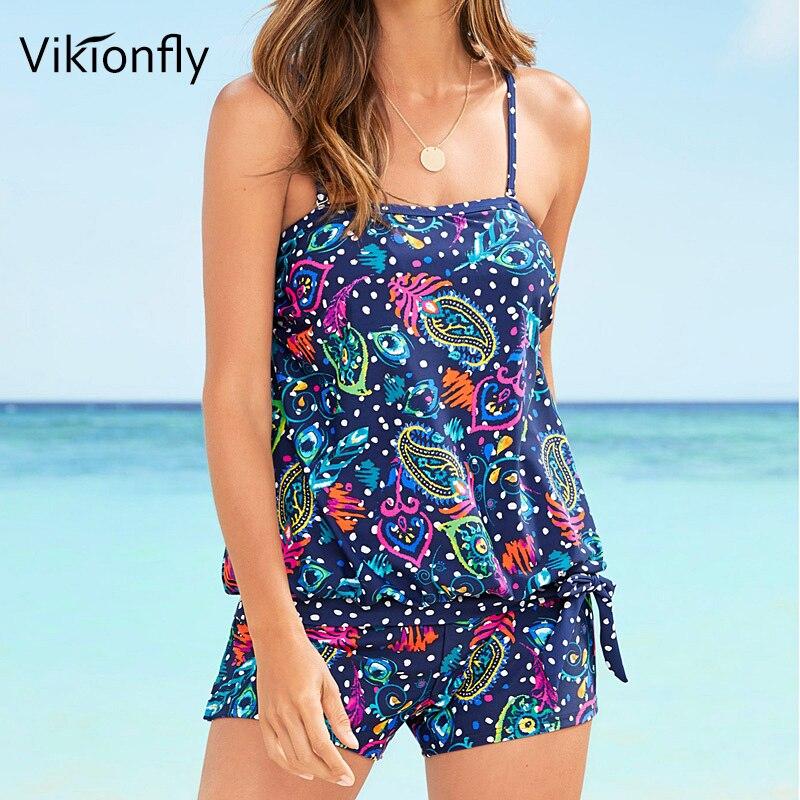 Vikionfly Plus Size Tankini Swimsuit Women 2019 Polka Dot Retro Swimwear With Shorts Swimming Bathing Suit For Swim Beach Dress