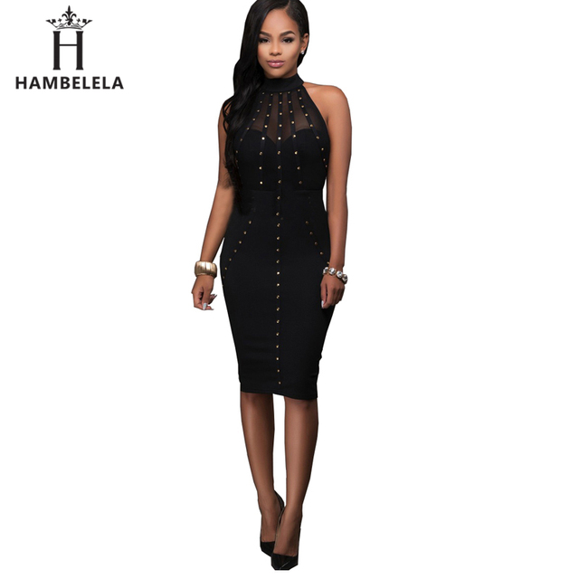 HAMBELELA Sexy Bandage Dress Black Red Women Rivet Mesh Hollow Out Midi  Bodycon Dress 2017 Fashion a9e854da9112