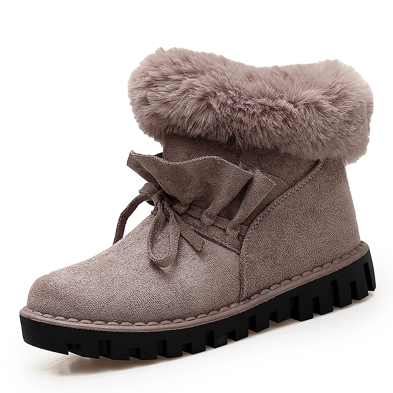 2017 Winter Womens Walking Shoes Snow Cotton Boots Warm Effect Plush Design Khaki Black Grey Height Increasing EU36-40