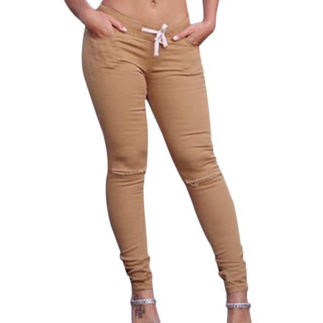 2016 Summer Women's Fashion Broken-hole Stretch Pants Casual Slim Pencil Pants Elasticity Tights Sexy Women Pants