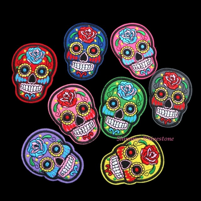 Mixed Skull Clothes Patch DIY Flowered Skeleton Embroidered Patches Iron On Fabric Badges Sew On Cloth Applique