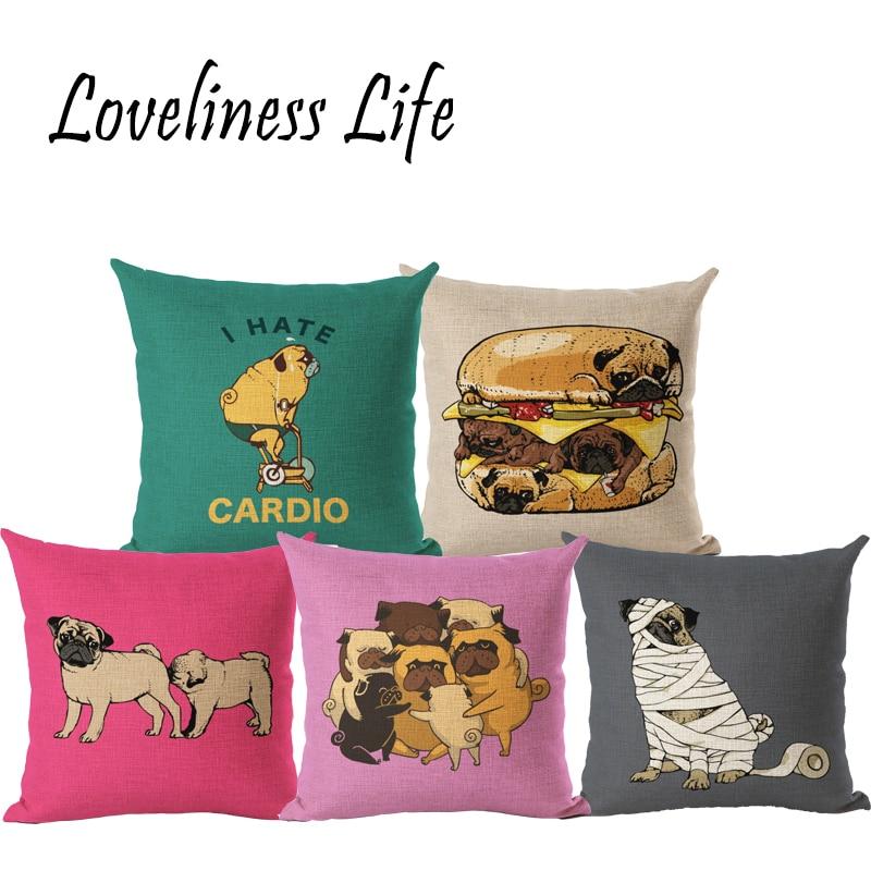 French Bulldog Linen Cushion Cover Pug Dog Animal Pillow Case Pug Pattern Design Decorative Throw Sofa Home Decor Cojines