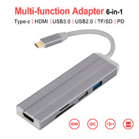 6 in 1 Type C HUB to HDMI Adapter Charger 4 in 1 Type C to USB SD/TF Card Converter Hub Adapter for Samsung Huawei