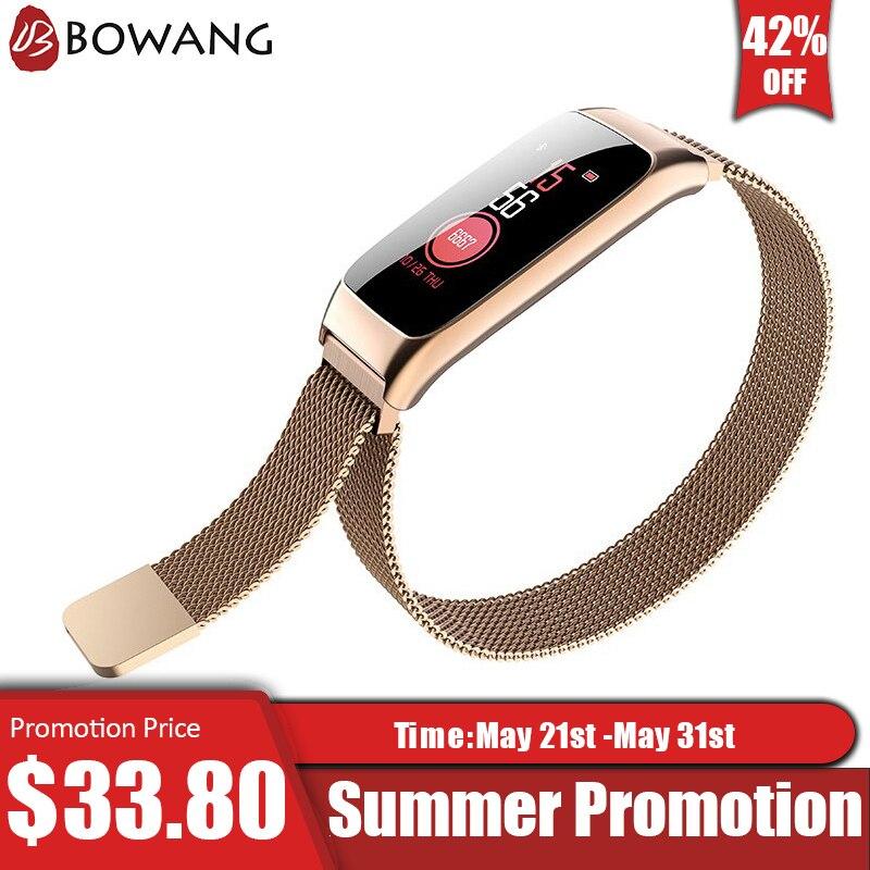 Bracelet intelligent de traqueur de forme physique de femmes BOWANG Bluetooth imperméable à l'eau de fréquence cardiaque application de Smartband d'acier inoxydable IOS Android W06
