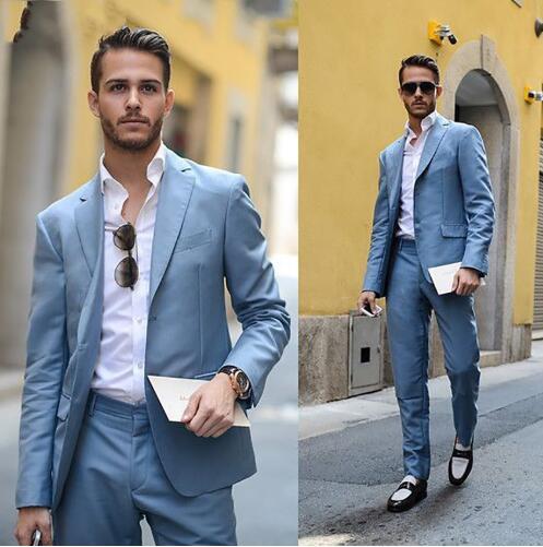 Light Blue Men Suit Latest Coat Pant Design Wedding Suits For Men Casual Prom Street Suit Men 2 Pcs Costume Homme Mariage Suit
